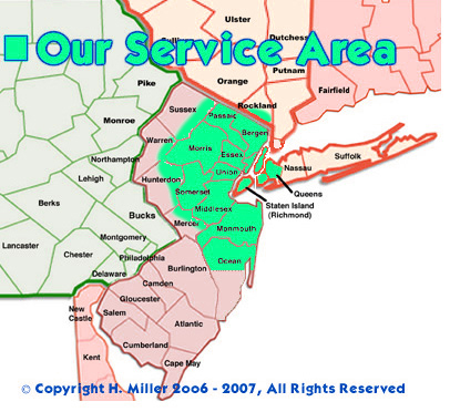 Mobile Massage NJ and NYC Service Area Map